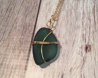 Emerald Green Colored  Sea Glass Necklace