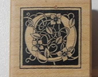 PSX Floral Botanical Letter O Rubber Stamp Wood Mount B-2027 Alphabet
