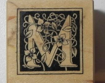 PSX Floral Botanical Letter M Rubber Stamp Wood Mount B-2025 Alphabet