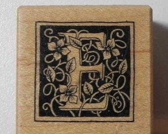 PSX Floral Botanical Letter E Rubber Stamp Wood Mount B-2017 Alphabet