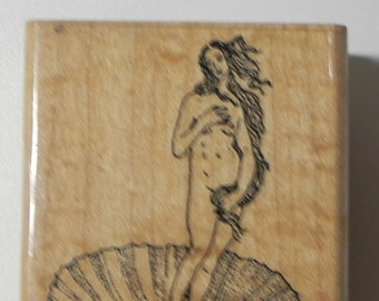 Museum Stamps Birth of Venus Rubber Stamp Wood Mount Botticelli