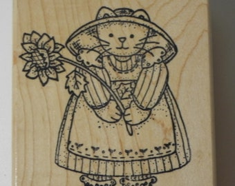 Azadi Earles Cat Holding Sunflower Rubber Stamp Wood Mount