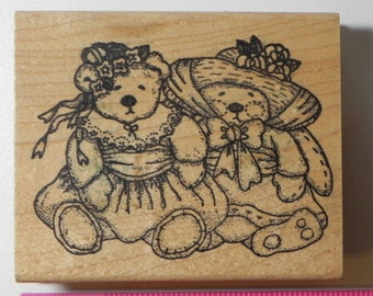 Azadi Earles Teddy Bears Dressed Rubber Stamp Wood Mount
