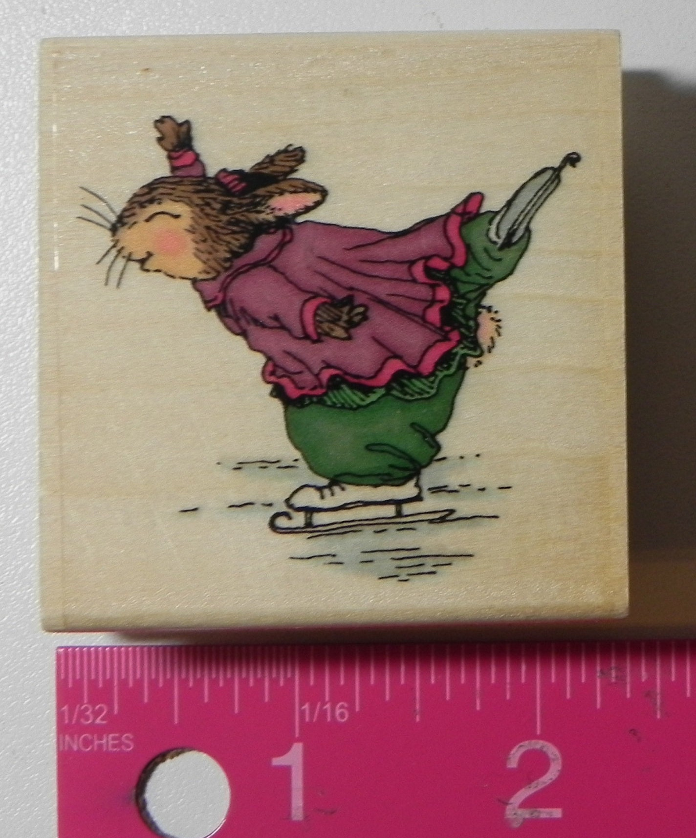 Uptown Emily Ice Skating Rubber Stamp Wood Mount Holly Pond Etsy