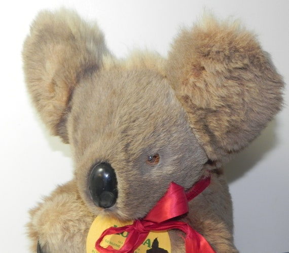 Vintage Australian Koala Bear Plush with Real Fur | Etsy