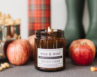Spiced Cider - 9oz Pure Soy Wax Candle in Amber Jar with Lid