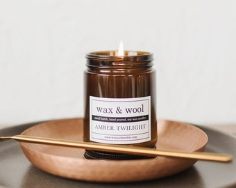 Amber Twilight - 9oz Pure Soy Wax Candle in Amber Jar with Lid
