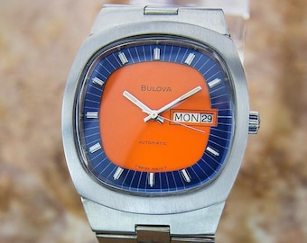 673a07b5e Bulova 1970s Swiss Automatic Ref N3 Stainless Steel Mens Retro 37mm Watch  D132