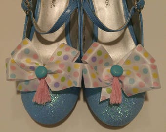 Pastel polka dot ribbon Easter and Spring shoe bow shoe clips shoe accessories