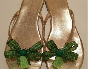 Green and gold plaid St Patricks Day shoe bows shoe accessories with dark green buttons and light green tassels