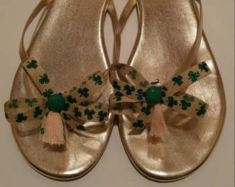 St Patrick's Day shamrock rustic ribbon shoe bow shoe accessories with dark green buttons and light orange tassels