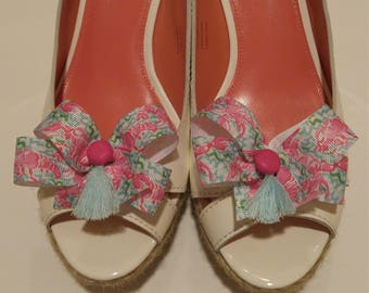 Pink lobster ribbon shoe bows Lilly fabric inspired shoe accessories with hot pink buttons and light blue tassels