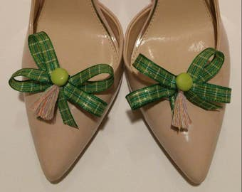 St Patrick's Day plaid green and gold shoe bow shoe accessories with light green buttons and rainbow tassels