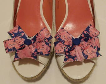 Pink flamingo on navy ribbon Lilly fabric inspired shoe accessory shoe bow with dark blue buttons and pink tassels