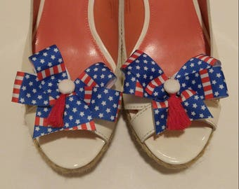 Americana red white and blue stars and stripes shoe bows shoe accessories with white homemade buttons and red tassels
