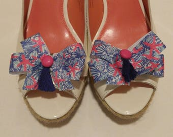 Lilly inspired starfish pink white and blue shoe bows shoe accessories with hot pink buttons and dark blue tassels