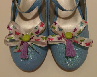 Rainbow butterflies shoe bows shoe accessories with hot green homemade buttons and lilac tassels