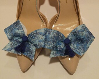 Ocean and seal Lilly fabric inspired shoe bow shoe accessories that look like dark and stormy print