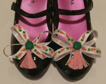 Easter carrots shoe bows shoe clips accessory