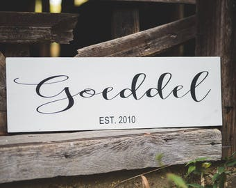 Last name/ Established/ Family/ Wood sign/ Wall Decor/Wedding Gift/Anniversary present