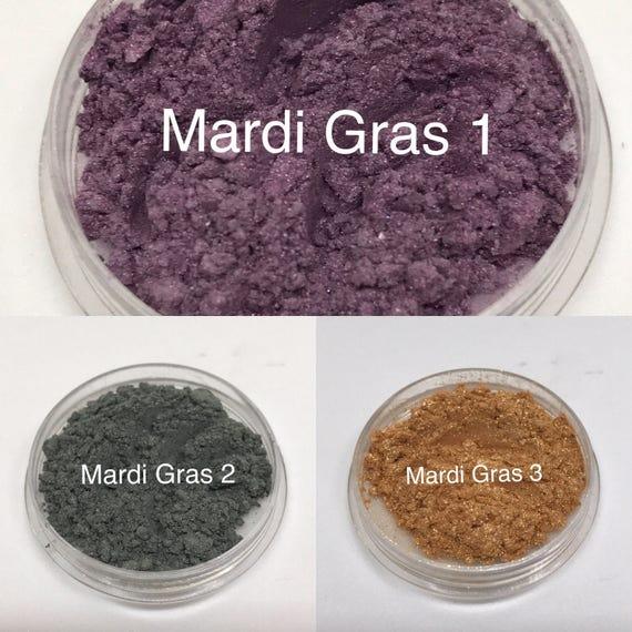 Mardi Gras Purple Green Gold Eyeshadow Palette Mineral Etsy