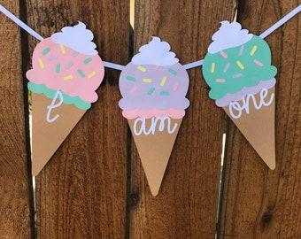 Ice Cream Cone ONE Age High Chair Birthday Party Banner Sign Pink Yellow Purple Silver