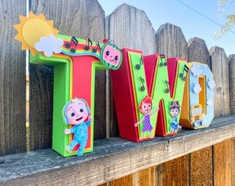 Coco Melon 3D Letter Cardstock Paper Number Custom Name