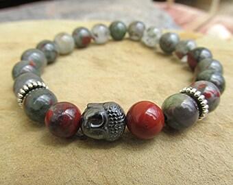 African blood agate bracelet gemstone bracelet gemstone bead bracelet Buddha bracelet yoga bracelet boho bracelet meditation healing gift.