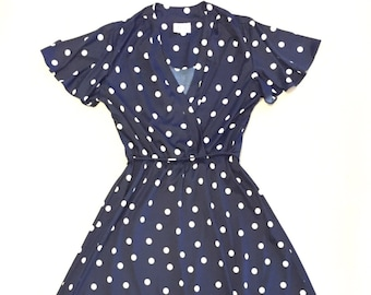 JERRIE LURIE Vintage 60's Navy Blue And White Polka Dot Rockabilly Pin Up Dress Size Medium/Large