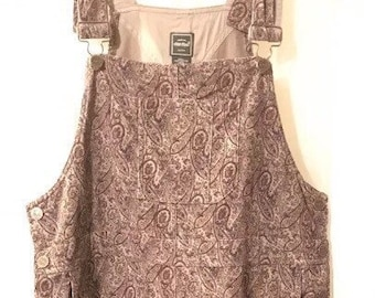 EDDIE BAUER Women's Paisley Long Overall Corduroy Jumper Dress Size Medium