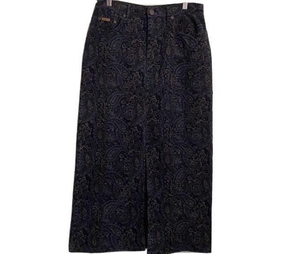Eddie Bauer Women's Paisley Corduroy Maxi Skirt Si