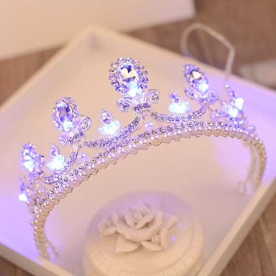 Bridal Pearl Crystal Hair Ornaments Wedding Luminous Crown Etsy