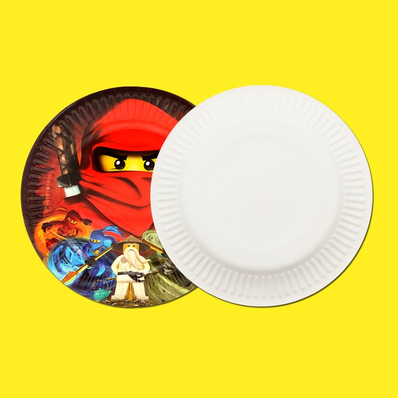 Party supplies 8PCS Ninjagoing theme party decoration disposable tableware paper dessert plate dishes 7inch with food film