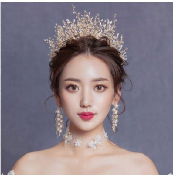 European Zircon Crystal Bridal Wedding Tiaras Big Crown Bride Dress  Accessories