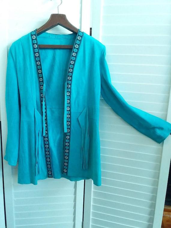 Turquoise suede fringed 70s jacket
