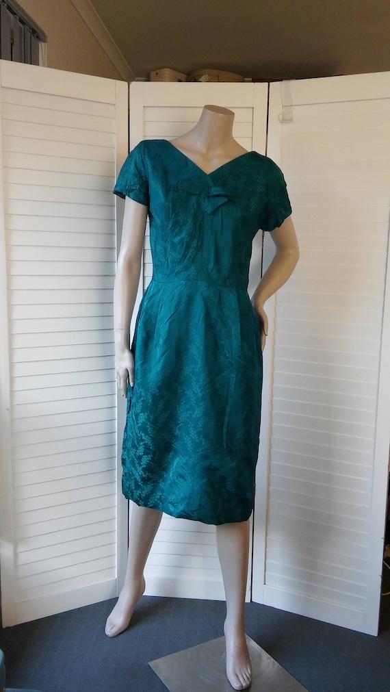 emerald green 1950s silk wiggle dress