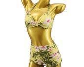 Tiki Vintage two piece designer Bikini High Waist Pin Up Rockabilly 1950 39 s 1940 39 s Retro Panty Hibiscus Flower Hawaii pattern ruffled pantie