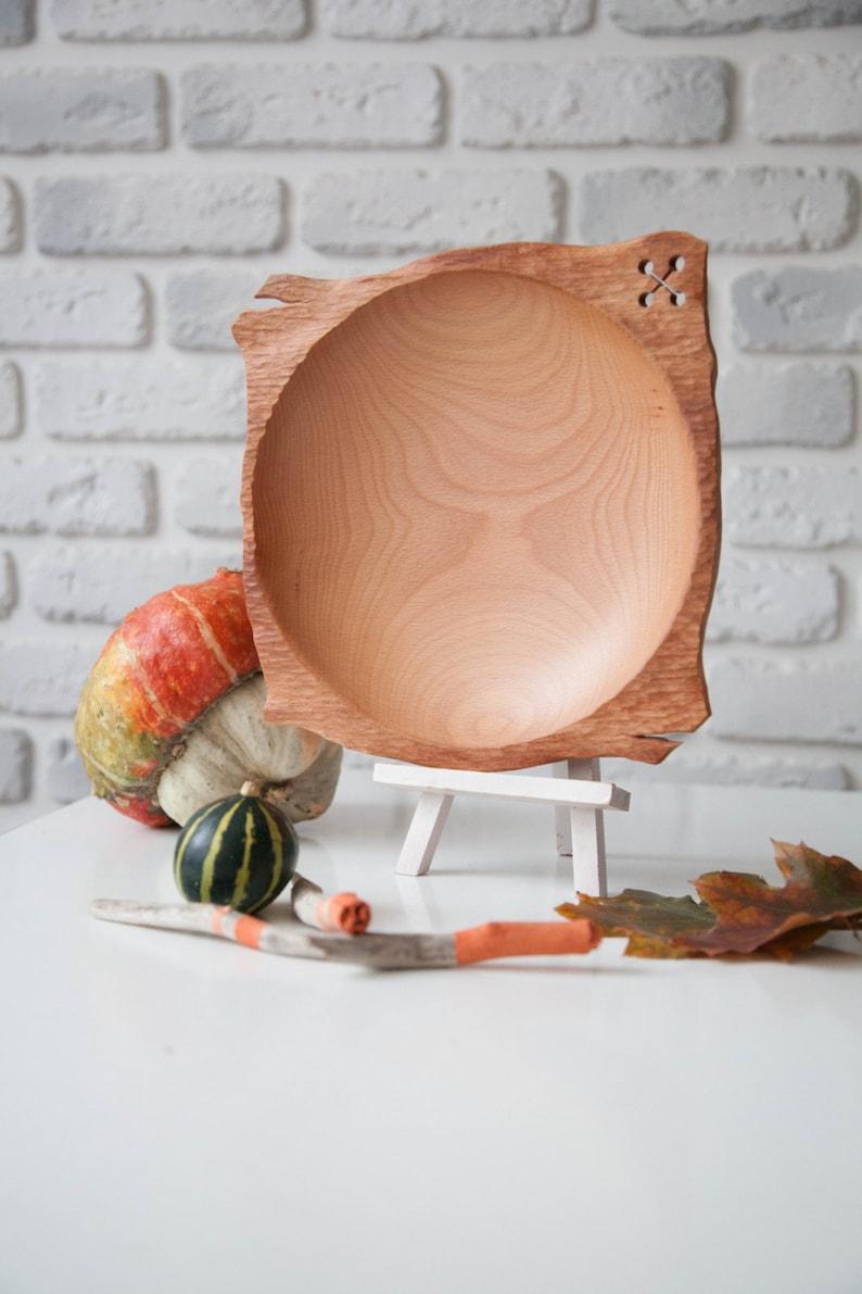 Stilvolle Buchenholz Platte Große Holzplatte Hand Gedreht Etsy