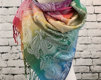 Pashmina Scarf Rainbow Scarf Multicolored  Shawl Pashmina Shawl Gift For Her Fashion Accessories Mothers Day Pashmina Scarves Women Scarf