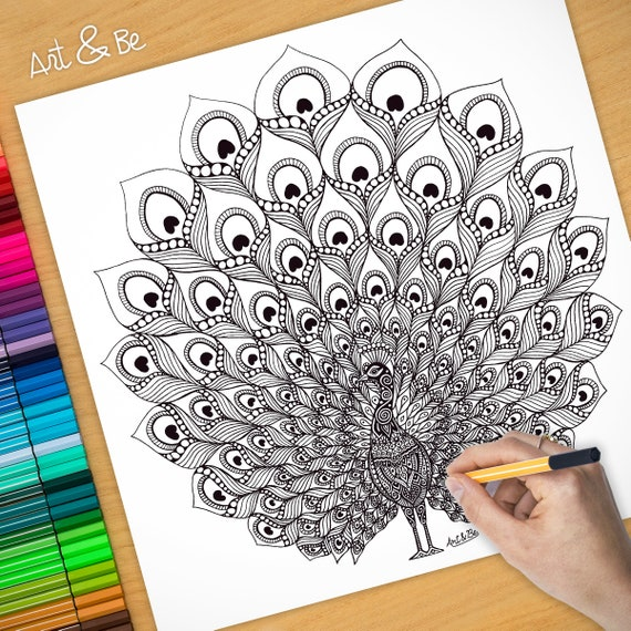 COLORING Poster - PEACOCK...