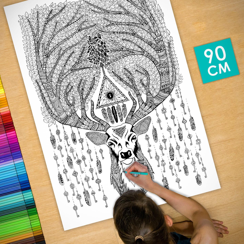 Affiche poster d co colorier 90cm cerf cl s etsy - Cerf a colorier ...