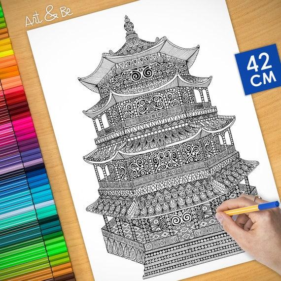 Coloring poster - PAGODA ...