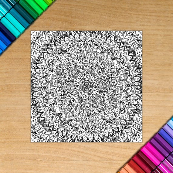 MANDALA card - Coloring f...
