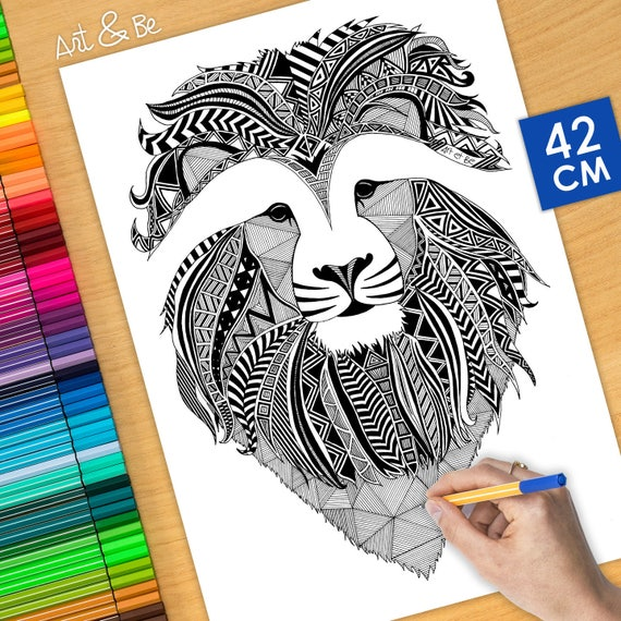 Coloring poster - LION (1...