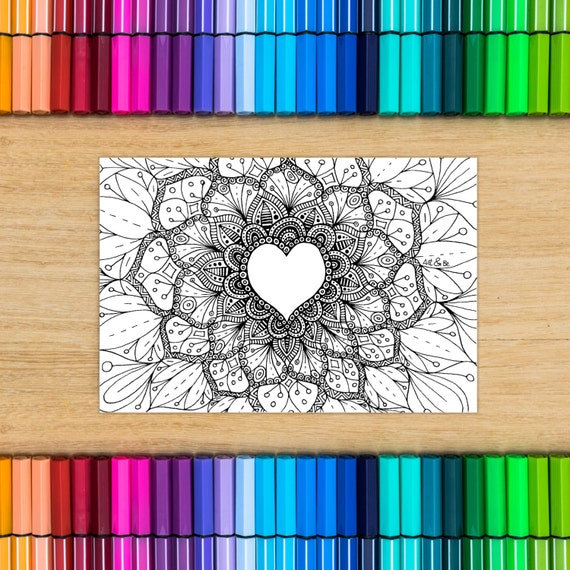 HEART card - coloring for...