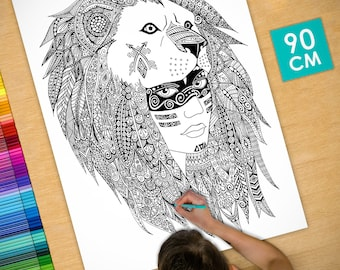 Poster / Poster deco coloring (90cm) lion headdress - coloring for adults