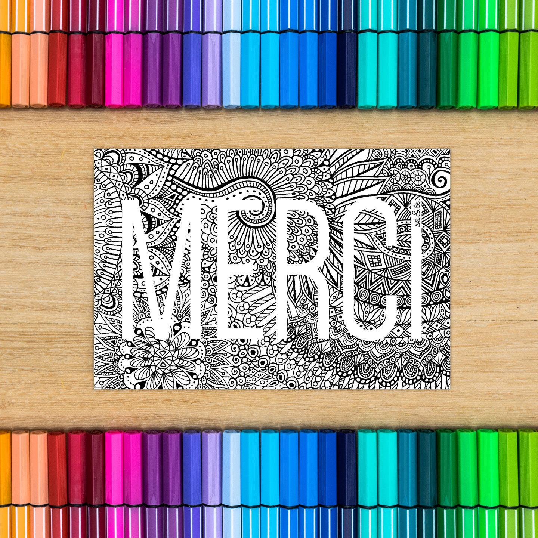 Carte postale à colorier MERCI coloriage pour adulte | Etsy