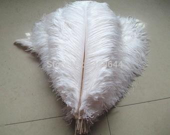 Free shipping Beautiful white ostrich feathers 10 PCS 25-80CM DIY wedding decoration