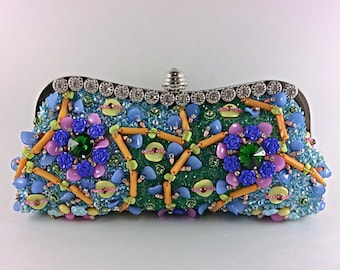 Handcrafted beaded clutch,multicolour embroidery bag,evening bag,party clutch,embellished clutch,party clutch,prom clutch,bridal clutch,gift