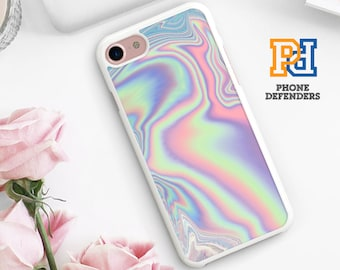 PASTEL METALLIC Printed Phone Case Cover Holographic Print Oil Slick Tumblr Hipster For IPhone 8 7 6S 6 5 SE 5C Plus